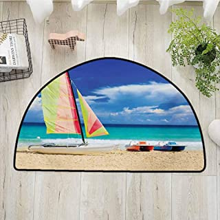 Xlcsomf Warm Half Round Door mat Holiday Decorative Home Exotic Cuban Beach with Wind Surfing Boat and Waves Tropical Summer Coastal Picture,W35 x L24 Blue Cream