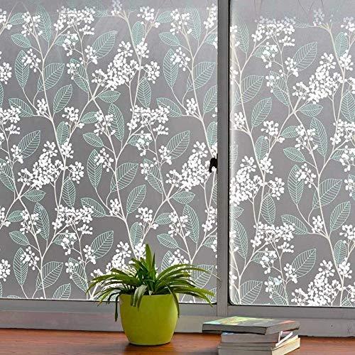 QZXCD Venster film Groen blad decoratieve raamfolie, PVC zelfklevende matglas folie. ondoorzichtige privacy raamfolie, warmte-isolatie