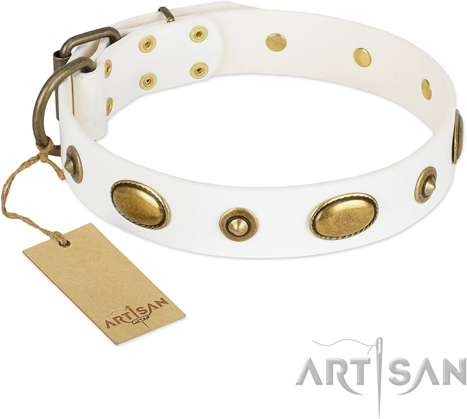 FDT Artisan 27 inch White Leather Dog Collar  Retro Temptation  Exclusive Handcrafted Item  1 1 2 inch (40 mm) Wide  Gift Box Included