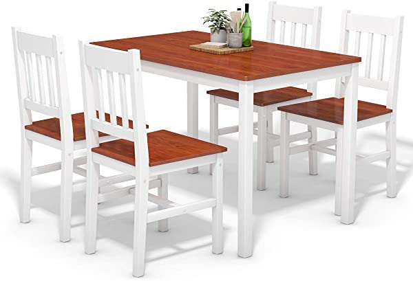 Giantex 5 Piece Wood Dining Table Set 4 Chairs Home Kitchen Breakfast Furniture White Walnut