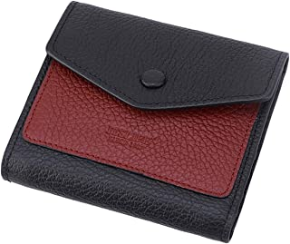 Itslife Women's Small Leather Wallet RFID Card Holder Mini Bifold Ladies Flat Pocket Purse Natural Black & Wine Red