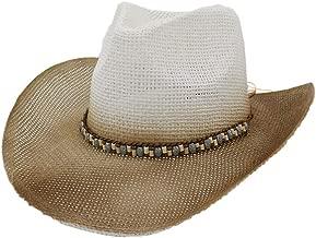 2019 Women Womens Paint Cowboy Straw Hat Men Women Outdoor Beach Sun Hat for Women New Spray Sunscreen Visor Color Braided Rope Panama Chapeu Feminino (Color : 4, Size : 56-58CM)