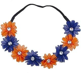 Lux Accessories Multicolor Chiffon Flower Headband Flower Crown Headband