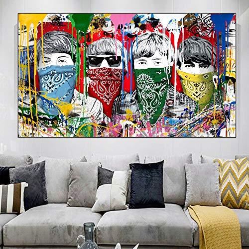 wojinbao DIY Digital Painting-Painting Kits de Lienzo-The Beatles Kits de Regalo de Acuarela enmascarados Arte de Lienzo preimpreso Decoración del hogar(Sin Marco)