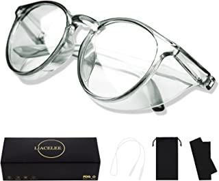 LIACELEE Anti Fog Stylish Round Safety Glasses Side Shields and Safety goggles clear round Better eye protection,UV400 Pro...