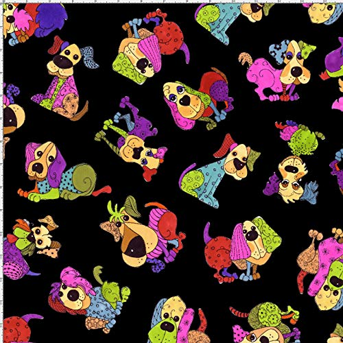 Loralie Designs - Tossed Happy Dogs Black Fabric by The Yard for Sewing - Loralie's Dog Fabric Collection - Black Dog Fabric - 100% Cotton/Washable