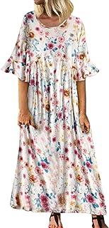 COZOCO Mujer Verano De Playa Vestido De Verano Vestido Verano Mujer Camiseta AlgodóN Casual Tallas Grandes Vestido De Tall...