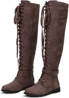 Blivener Women's Knee High Boots Strappy Lace up Thigh High Side Zipper Vintage Buckle Riding Boots