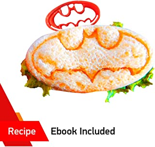 SUPERHERO MINI SANDWICHES by WNF Craft - Includes BATMAN mold - Perfect for Making Cookies, Mini Sandwiches, Shaped Cheese, Fruits, Ham and Bologna