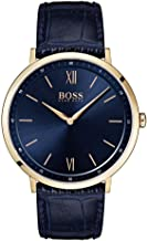 BOSS Essential Ultra Slim, Quartz Rose Gold and Leather Strap Casual Watch, Blue, Men, 1513648
