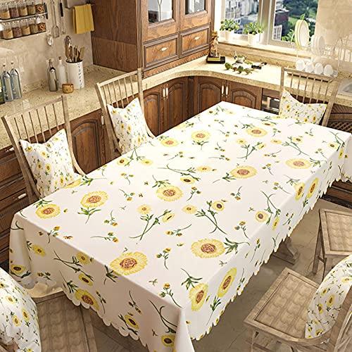 Mantel de PVC, impermeable, una variedad de mesas disponibles, Lave gratis, usado para cocina, comedor, estera de picnic, uso en interiores y exteriores, decoración de escritorio,Sunflower,80x120cm