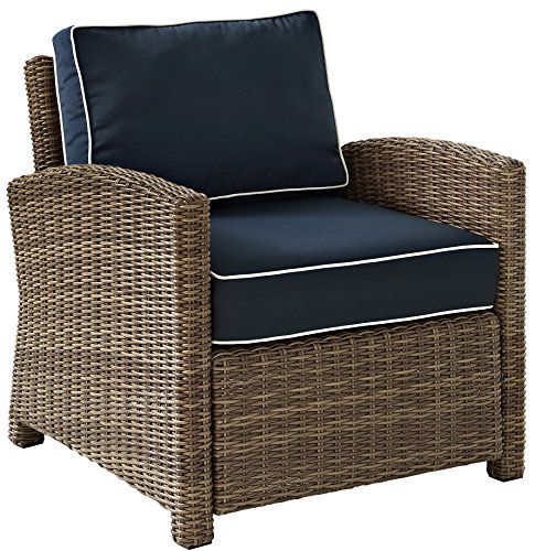 Crosley Furniture KO70023WB-NV Bradenton Outdoor Wicker Arm Chair, Single, Brown with Navy Cushions