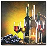 wine and grapes canvas art - Wine Decor - Canvas Wall Art with LED Lights - Wine Print with Barrel, Wine Glasses and Bottles with Candles - Wine Wall Decor - Indoor Scene with Various Kinds of Wine and Grapes Wall Art