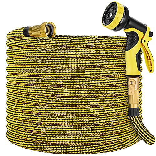 """Zoflaro Garden Hose 50ft, Expandable Water Hose 50 feet with 10 Function Spray Nozzle, Extra Strength 3750D, Durable 4-Layers Latex Flexible Expandable Hose with 3/4"""" Solid Brass Fittings, Leakproof"""