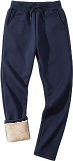 Lentta Men's Winter Active Casual Warm Sherpa Lined Fleece Open Bottom Sweatpant Pant
