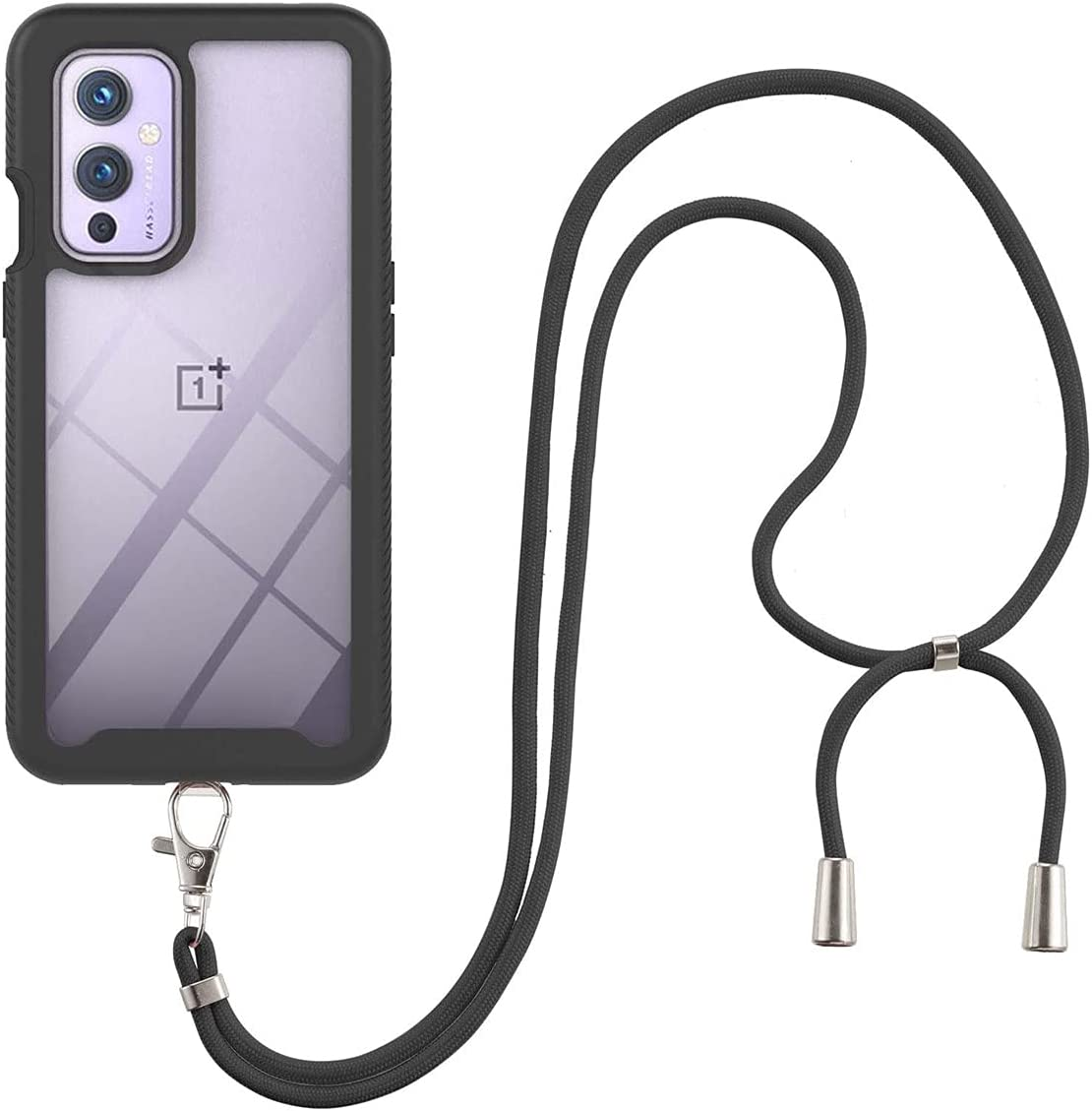 OnePlus 9 Case, Gift_Source Slim Shockproof Crossbody Case 2 in 1 Soft Silicone Bumper and Clear Hard PC Back Cover Shell with Adjustable Lanyard Neck Strap for OnePlus 9 (6.55