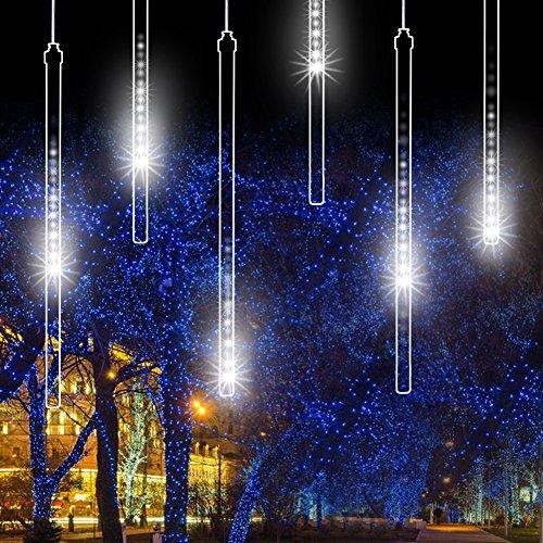 Luci Doccia a Pioggia Meteorite, EECOO 8 Tube 144 LED Strisce per Esterni Catena di luci 100 V-240 V decorazione luci LED per esterno giardino alberi di Natale decorazione