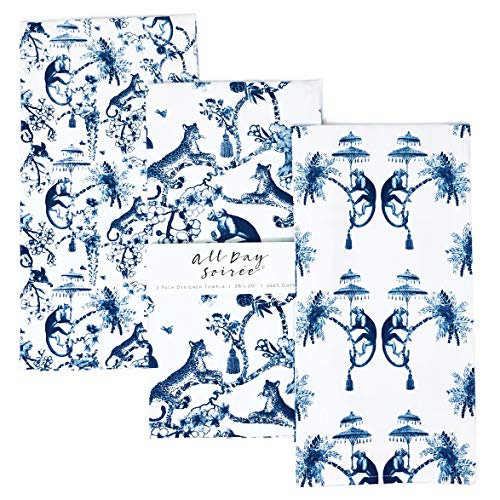 Chinoiserie Designer Kitchen Tea Towels 3 Pack 100% Absorbent Cotton Tiger Monkey Floral Hand Towel Large Dish Cloth Set Blue White
