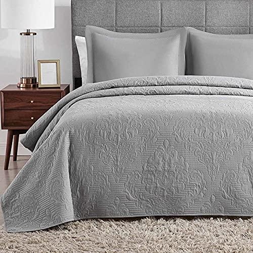 Hansleep Tagesdecke 240x260 cm Wohndecke Grau Bettüberwurf Mikrofaser Bettdecke für Schlafzimmer Stepp Decke Super Weich und Komfort Geeignet für Bett