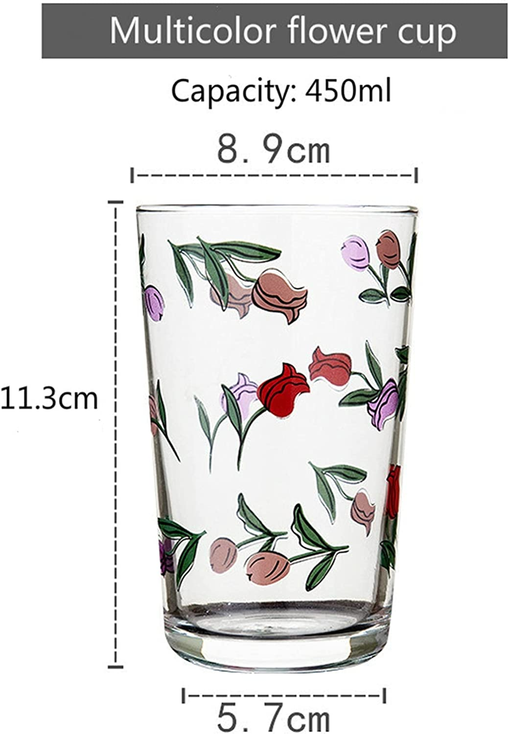 Glass cup 7 Flower Patterns 450Ml Daisy Popular shop Long-awaited is the lowest price challenge Tulip Wine Korean