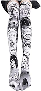Ahego Disease Face Socks Thigh High Stockings Hentai Japanese Anime Lolita Cosplay