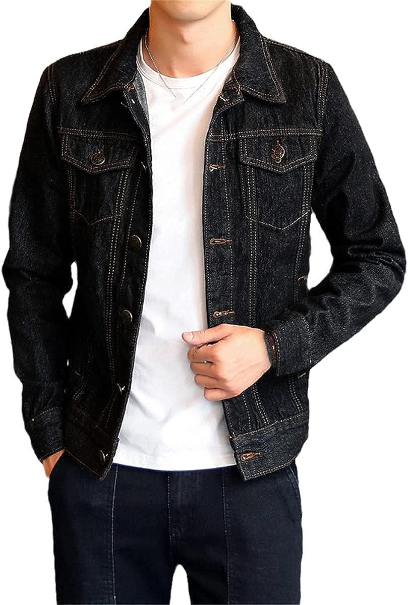 Fashion Men's Denim Jacket Slim Fit Cotton Jacket Long Sleeve Ripped