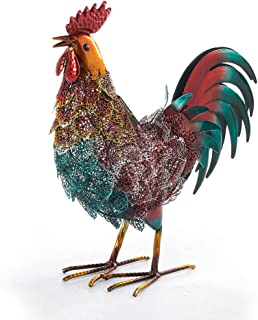 Chisheen Metal Rooster Decor Solar Light Outdoor Statues for Garden Decorations Led Rooster Sculptures