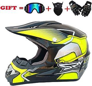 <h2>EDW Erwachsenen Motocross Helm MX ATV VCAN Offroad Motorrad Motorradhelme DOT Distribution Dirt Bike Handschuhe Cross Country Brille Und Maske,M57~58cm</h2>