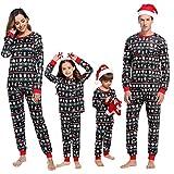 Abollria Pijamas de Navidad Familia Conjunto Pijamas Mujer Hombre Invierno Manga Larga Pijama 2 Piezas Ropa de Dormir para Niño Mamá Papá Homewear Sleepsuit