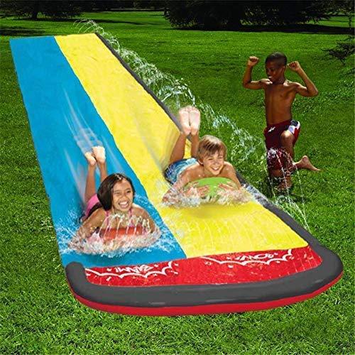 N/I Children Water Slide, Garden Lawn Slip And Slide, Double Water Slide Spray Sprinker Pool Toy Summer Toy For Outdoors Childrens Kids Soak Splash Aqua