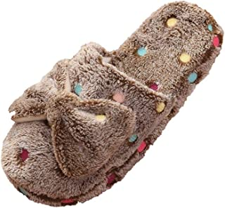 LYLCC New Bow Cotton Slippers - Ladies Cute Winter Warm Cotton Drag Home Non-slip Indoor Floor Wool Slippers Plus Velvet Warm Indoor Non-slip Home Shoes Cotton Floor Slippers