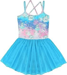 Nidoul Kid Girls Gymnastics Skirted Leotards Ballet Dance Dress Unicorn Rainbow Tutu Camisole Skirt