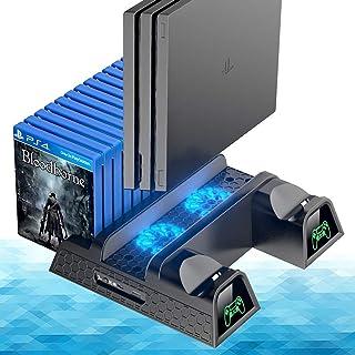 OIVO Ventilador de Refrigeración Compatible con Ps4/Ps4 Pro/Ps4 Slim,Estación de Carga del Controlador,Soporte Vertical de Enfriamiento con Indicadores LED y Almacenamiento para 12 Juegos