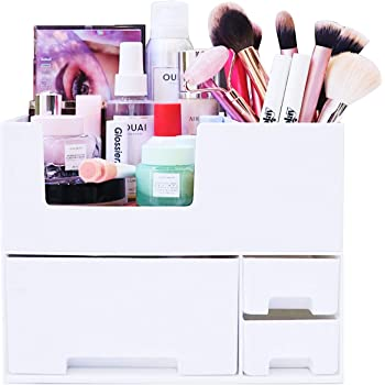 Makeup Organizer - Stackable Make up Organizers and Storage Drawers. Instagramable Makeup Organizer Countertop, Cosmetic Organizer, Desk Organizer, Bathroom Organizer. Perfect Vanity Gifts for Her