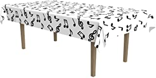 Beistle 57927 Musical Notes Tablecover White,Black