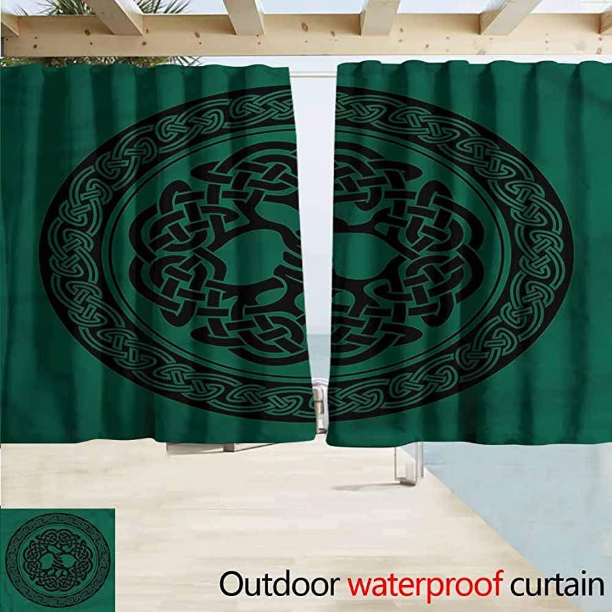 Rod Pocket Blackout Curtain Panels Celtic Tree of Life Pattern Room Darkening, Noise Reducing W72x45L Inches
