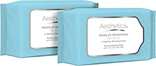 Aesthetica Makeup Removing Wipes - Facial Cleansing Towelettes - Hypoallergenic & Dermatologist Tested Make up Remover - Oil & Fragrance Free - Made in USA - 2 Pack (60 wipes total)