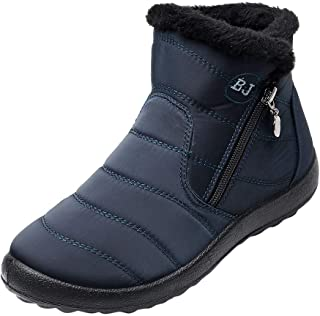 👏 Happylove 👏 Women Winter Snow Boots Anti-Slip Ankle Booties Waterproof Slip On Warm Fur Lined Booties Sneaker