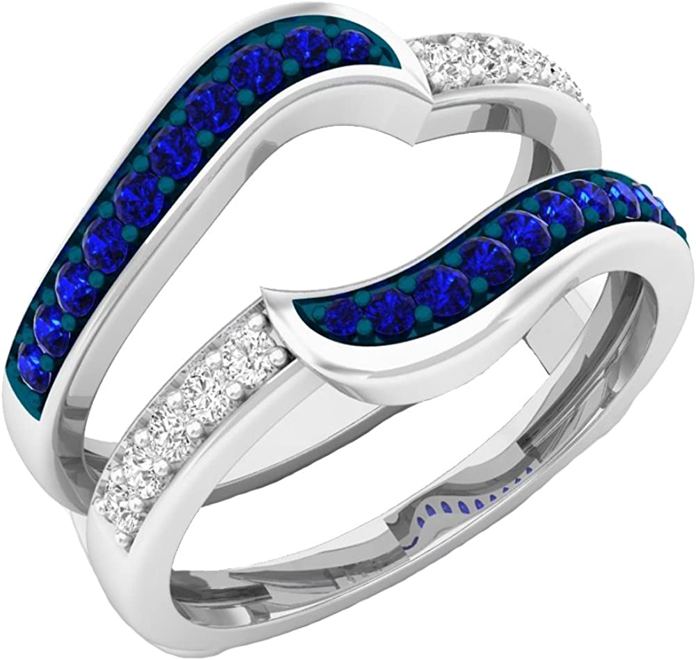 Dazzlingrock Collection 10K Gold Round Blue Sapphire & White Diamond Ladies Anniversary Wedding Band Guard Double Ring
