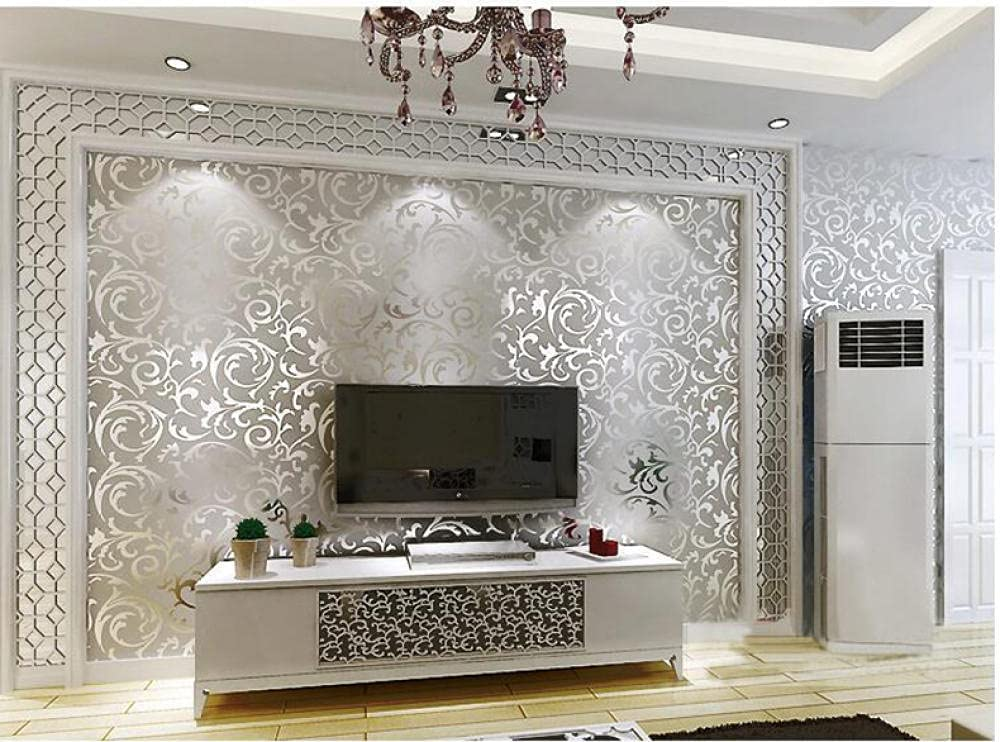Max 44% OFF Wallpaper Roll Silver lowest price Luxury Home Decor Wall Co Modern