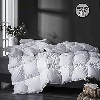 APSMILE All Season Goose Down Comforter - Ultra-Soft Pima Cotton, 750FP 40oz Medium Warmth Year-Round Duvet Insert (Full/Queen, White)