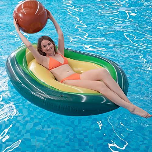 Myir JUN Aufblasbare Avocado Erwachsene, Riesige Wasser Pool Floß Aufblasbare Spielzeug Float Ruhesessel Schwimmen Ring Luftmatratze für Sommer Strand Poolpartys (Avocado)