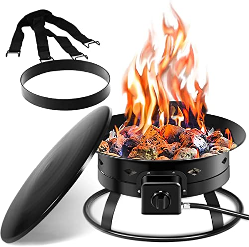 high quality Giantex Firebowl Outdoor Portable Propane Gas Fire Pit, 19-Inch Diameter, 58,000BTU outlet online sale w/ Cover & Carry Kit, Lava Rock Stone and Tank outlet online sale Stabilizer Ring, Black outlet online sale