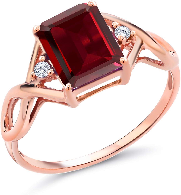Gem Stone ! Super beauty product restock quality top! King 2.64 Ct Red Garnet G Grown Rose H Mesa Mall Lab Diamond 18K