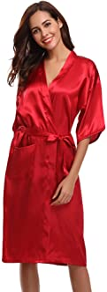 Aibrou Damen Satin Morgenmantel Kimono Lang Bademantel Schlafanzug Negligee Nachthemd Nachtwäsche Unterwäsche V Ausschnitt Mit Gürtel