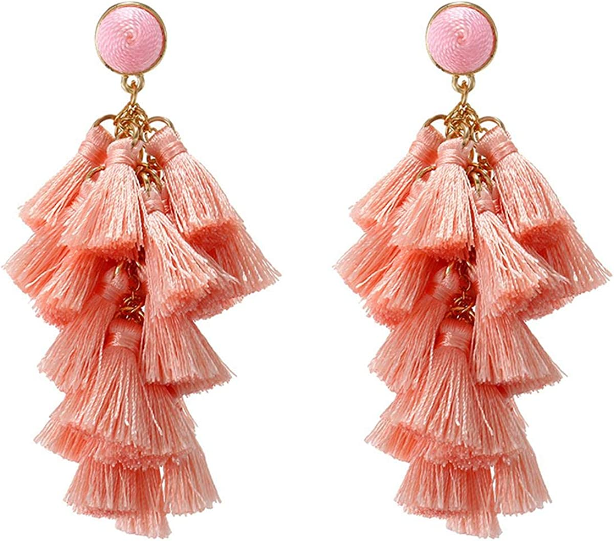 big soutache earrings long drop shape earrings witrh fringe mexican earrings colorful Purple tassel earrings boho statement earrings