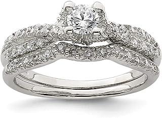 Anello di fidanzamento da donna in argento Sterling 925 con zirconia cubica, misura 8
