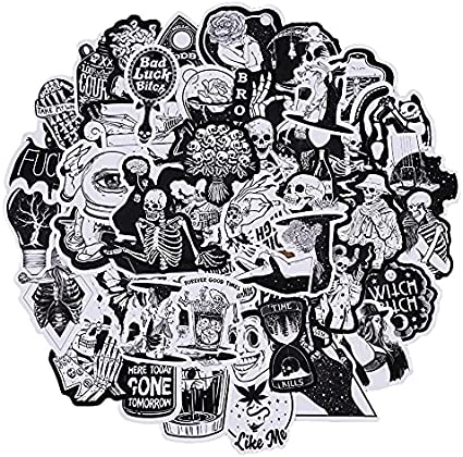 ZZHH 50Pcs Black and White Gothic Horror Skeleton Graffiti Sticker DIY Laptop Luggage Guitar Scooter Decal Children's Toys