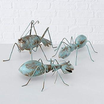 CasaJame Hogar Jardín Muebles Decoraciones Accesorios Objetos Adornos Esculturas Arte Conjunto de 3 Estatuas XXL en Forma de Hormigas Metal Marrón Turquesa Estilo Shabby Chic Vintage 25x20x10cm: Amazon.es: Hogar