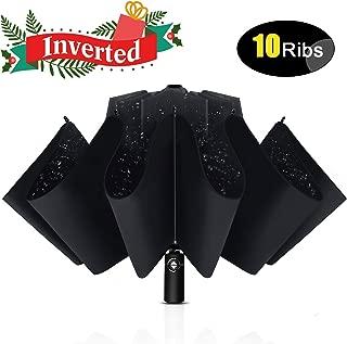 Inverted Umbrella Windproof with Leather Cover, 10 Ribs Automatic Umbrella Teflon Coating Reverse Umbrella Portable Rain&Sun Travel Umbrella for Men/Women
